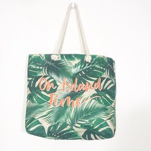 Banana Leaves Beach Tote Bag On Island Time Bag